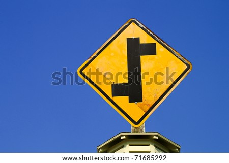 The Direction sign turn left and turn right - stock photo