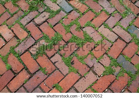 The dirty texture of a brick patterned sidewalk - stock photo