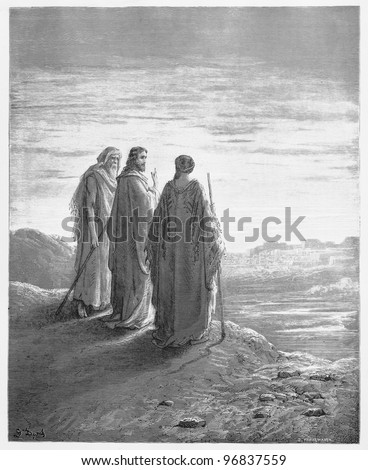 The disciples encounter Jesus on the road to Emmaus - Picture from The Holy Scriptures, Old and New Testaments books collection published in 1885, Stuttgart-Germany. Drawings by Gustave Dore. - stock photo