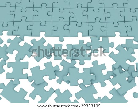 The divided color parts of a puzzle