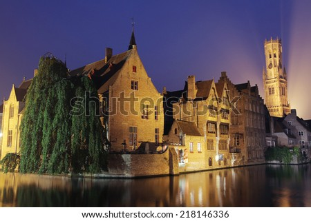 The dock of the Rozenhoedkaai at night, Bruges, Belgium.