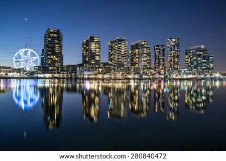 The docklands waterfront area of Melbourne at night, Australia. - stock photo