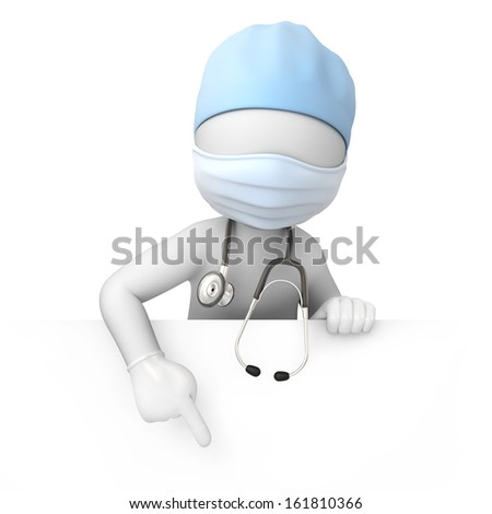 the doctor, 3d image with a work path - stock photo
