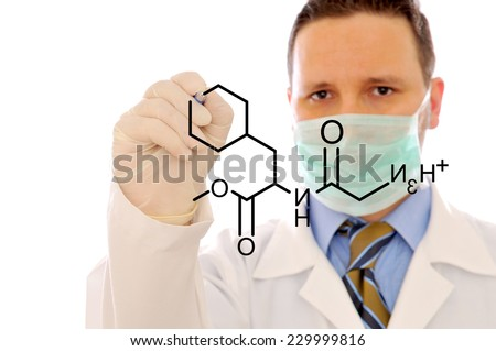 The doctor is writing a formula on the white background - stock photo