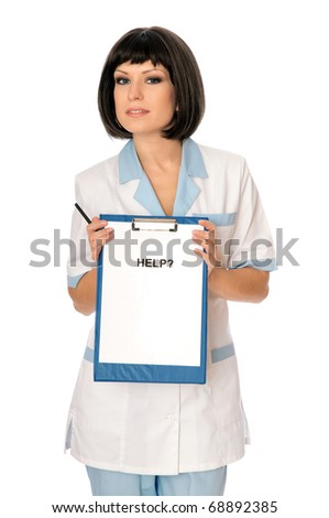 The doctor proposes her help to patients - stock photo