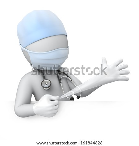 the doctor pulls a glove. 3d image with a work path - stock photo