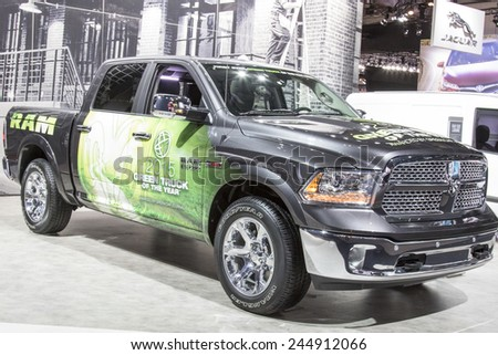 The 2016 Dodge Ram Pickup 1500 at The North American International Auto Show January 13, 2015 in Detroit, Michigan. - stock photo