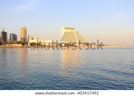 The Doha Sheraton (right) and other top-class hotel buildings in Doha, Qatar, shortly before Sunset, January 2016