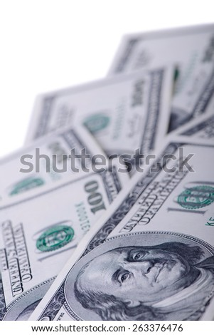 The dollar banknotes isolated on white background close-up - stock photo
