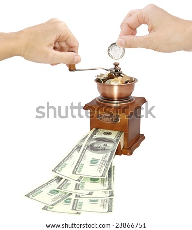 The dollars in a coffee grinder - stock photo