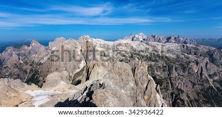 The Dolomites. The Pale di San Martino massif, taken from the south-east (Mt.Croda Granda). Region Veneto and Trentino, Italy - stock photo