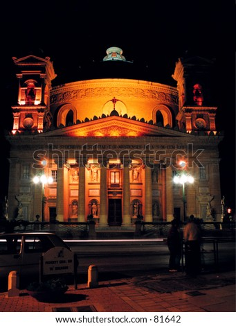 The dome at Mosta church, Malta. - stock photo