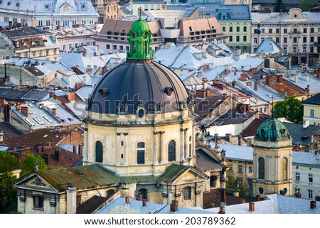 The Dome of Dominican church and monastery in Lviv, Ukraine is located in the city's Old Town. - stock photo