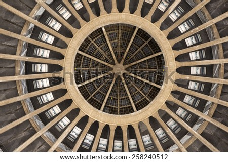 The Dome of Hala Stulecia (Centennial Hall) also known as Hala Ludowa (People's Hall) in Wroclaw, Poland, UNESCO World Heritage Site - stock photo