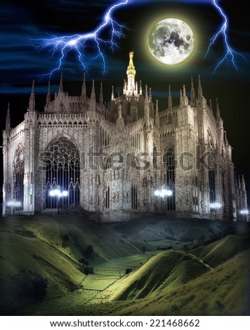 The Dome of Milan under moonlight and thunder lightning