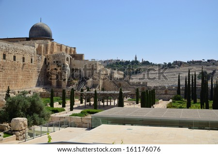 The dome of the Al Aqsa in Temple Mount Moriah - stock photo