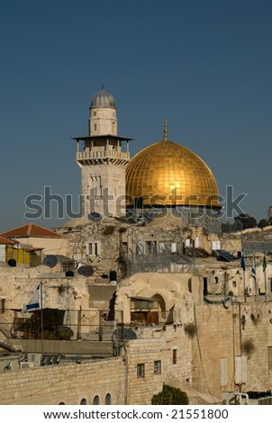 The Dome Of The Rock in Jerusalem as seen from the rooftops of the Old Quarter.