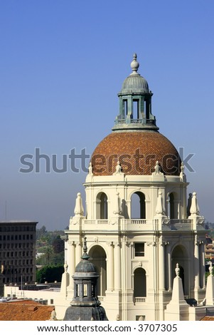 The domed tower of the Pasadena City Hall. - stock photo
