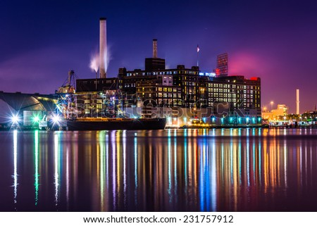 The Domino Sugars Factory at night in Baltimore, Maryland. - stock photo