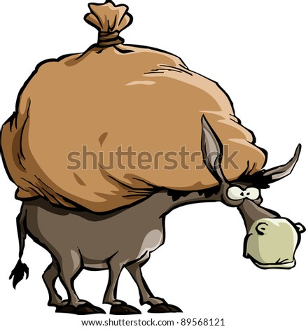 The donkey carries a large bag, raster - stock photo