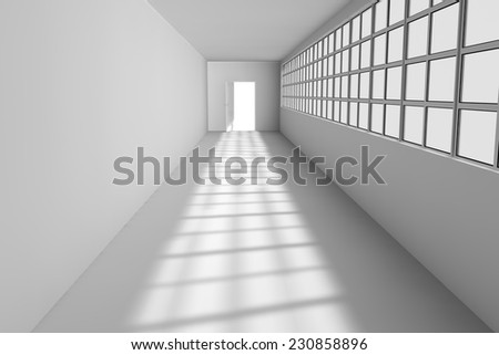 The door at the end of the white band - stock photo
