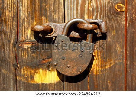 The door closed on the lock - stock photo
