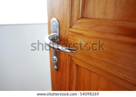The door handle of luxury yacht. - stock photo