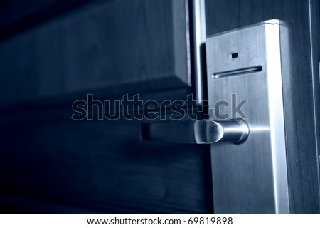 The door handle. Opens by a plastic card - stock photo