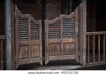 The door in the cafe cowboy style & Door Cafe Cowboy Style Stock Photo (Royalty Free) 492155758 ...