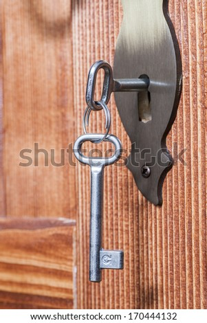 the door lock with the handle and a key - stock photo