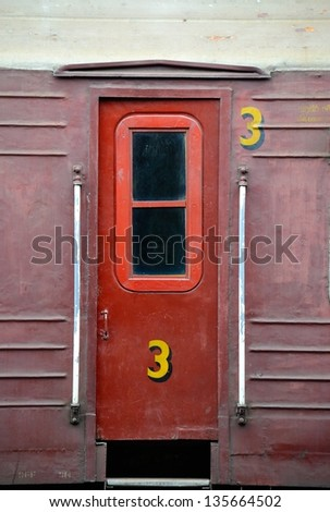 The door of an old Sri Lankan train in Kandy - stock photo