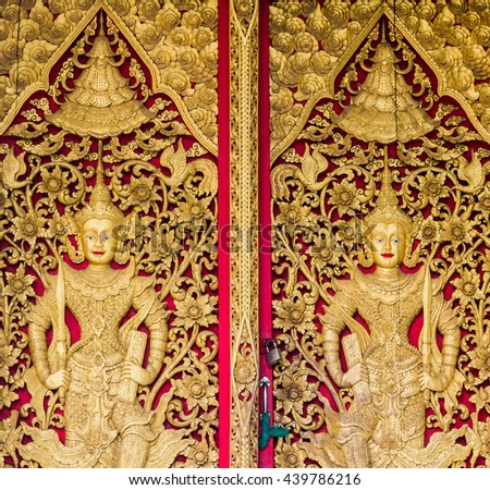 The door Thailand temle - stock photo