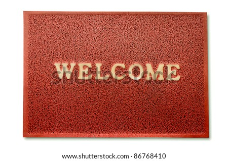 The Doormat of welcome text isolated on white  background