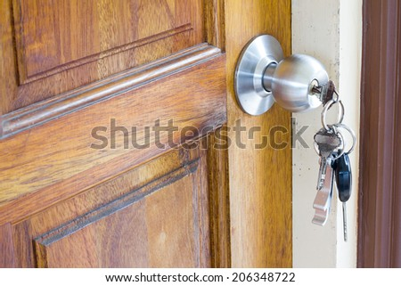 The doors with the key slot. - stock photo