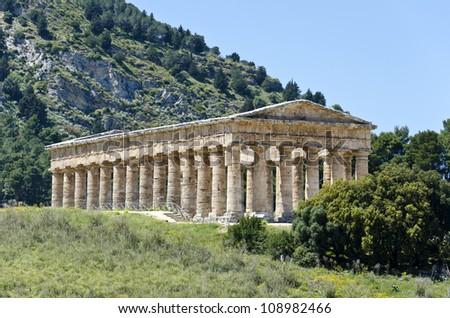 The Doric temple of Segesta in Sicily, Italy - stock photo