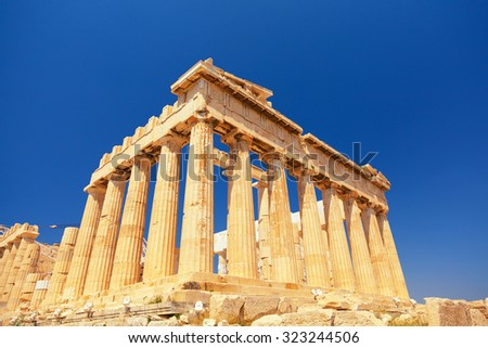 The Doric temple Parthenon at Acropolis hill. Athens, Greece. Full length view. - stock photo