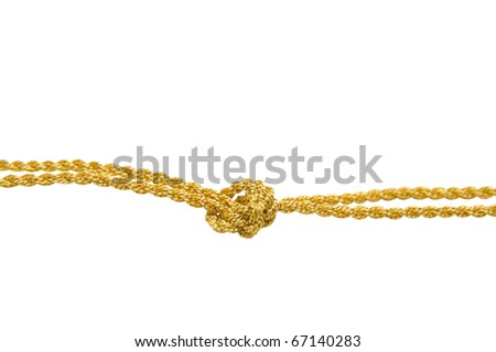 The double gold cord is fastened in knot. On a white background - stock photo