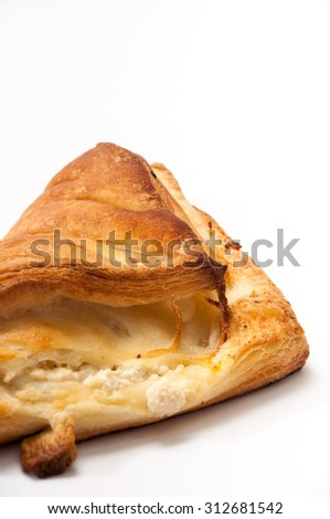 The dough with cheese on a white background.