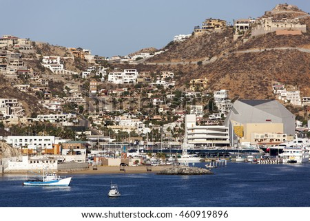 The downtown of Cabo San Lucas, a popular resort town in Mexico.