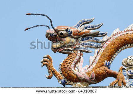 The dragon on the roof top, vietnam - stock photo