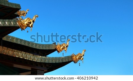 The dragon sculpture at Songzanlin Temple also known as the Ganden Sumtseling Monastery, in Zhongdian city( Shangri-La), Yunnan province China and is closely Potala Palace in Lhasa - stock photo