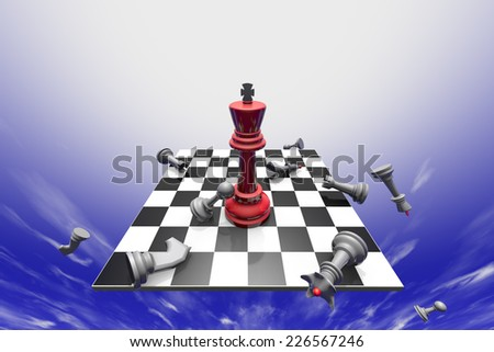 The dramatic art of chess composition. Fantastic sky. 3D-image.  - stock photo