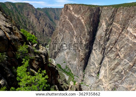 The Dramatic Quartz Stripes of The Painted Wall.  Black Canyon Of the Gunnison National Park, Colorado - stock photo