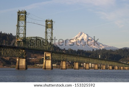 The draw bridge takes you across the Columbia River to Hood River Oregon in the Shadow of Mt Hood - stock photo