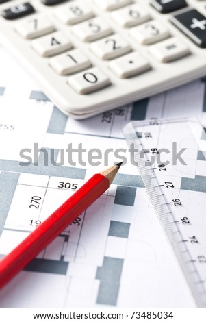 the drawing of home plan - stock photo