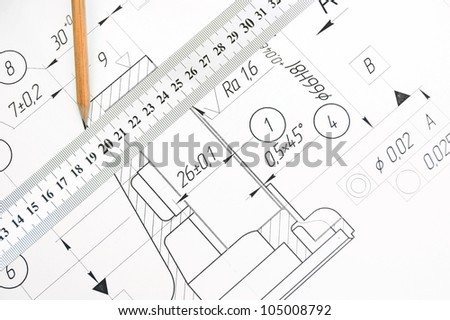 The drawing, ruler and pencil. - stock photo