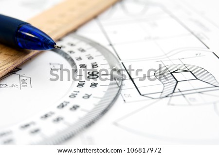 The drawing, ruler and pencil . - stock photo