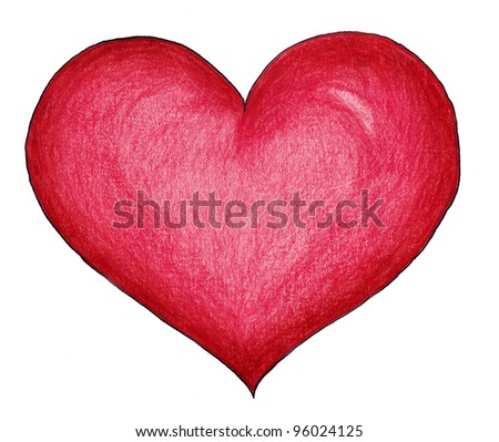 The drawn heart - stock photo