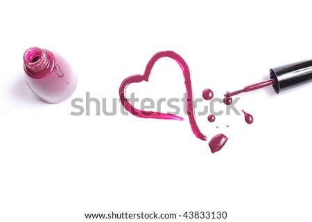 The drawn heart on  white background  varnish of cherry colour