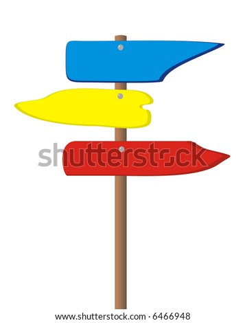 The drawn wooden traffic sign with three tablets of different color on a white background - stock photo